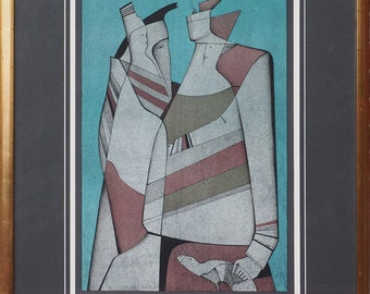 The Voyage surreal vintage lithograph by Mihail Chemiakin Russia