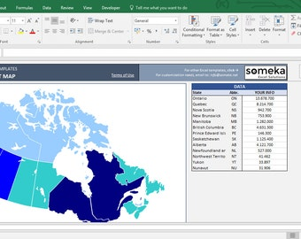 Canada Heat Map Excel Template - Heat Map Generator