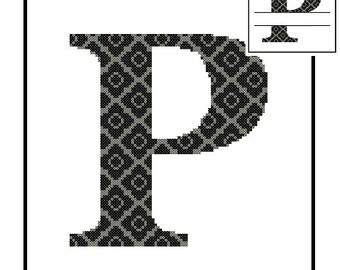 Monogram P Cross Stitch Pattern P Initial P Letter cross stitch Wedding Gift House Warming split letter cross Wedding Record Anniversary