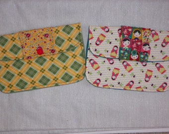 Clutch Purse Matryoshkas Little Wooden Nesting Dolls or Happy Plaid and Rosy Floral Green and Yellow Your Choice of One