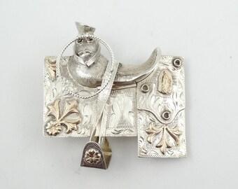 Back In The Saddle Again!  Ornate Vintage 10K Gold and Sterling Silver Show Saddle Belt Buckle #SADDLE-BK3