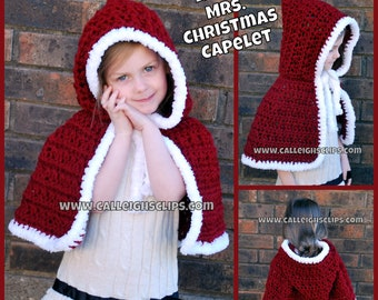 Instant Download Crochet Pattern- No. 82 Little Mrs. Christmas Capelet- PDF File -variety of sizes