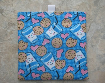 Milk and Cookies Reusable Sandwich Bag, Reusable Snack Bag, Eco Friendly Snack Bag, Washable Treat Bag with easy open tabs