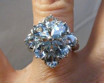 Vintage Blue Topaz Cluster Ring in Sterling Silver .....  Lot 5740