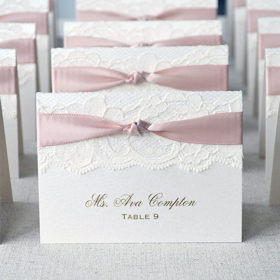 Knot Lace Place Card-Lace Escort Card - Ribbon and Lace - Custom Place card for Wedding, Sweet 16, Quince, Bridal Showers-Ivory or White