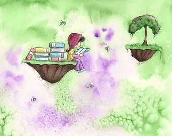 Brunette or Blonde Girl Reading On an Island With Dragonflies  - The GIRL Who LIKED To READ  - Fine Art Print