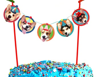Corgi Dogs Birthday Cake Garland - photo reproductions on felt - funny Corgi portraits birthday cake bunting