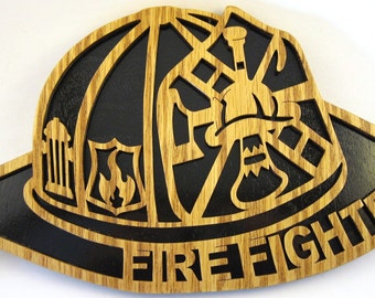 Firefighter Helmet scroll saw cut--3fire