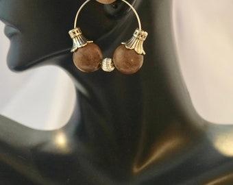 Brown Hoop Earrings Loopty Loop Dreams