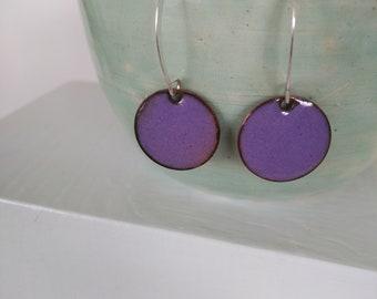 mauve, copper enamel earrings