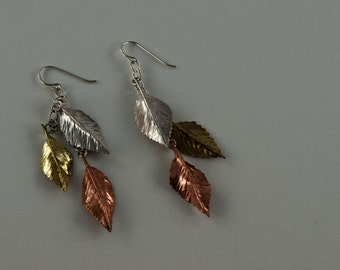 Handmade Cascading Leaves Earrings