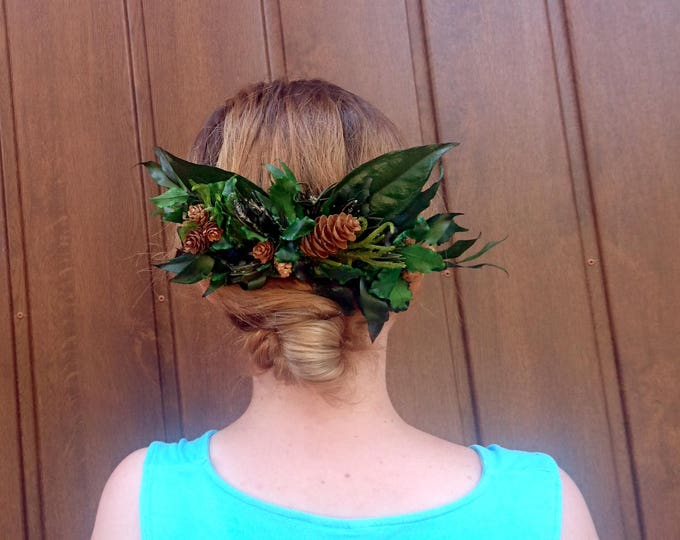 Greenery natural hair comb wedding bridal hairpiece green preserved real leafs pine cones boho eco style accessory rustic