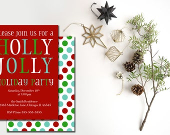 Holiday Party Invitation, Holly Jolly Christmas Party Invitation, Office Holiday Party Invitation, Company Party Printable Invitation