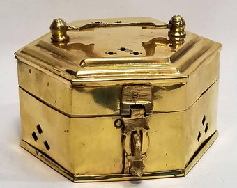 Vintage Hexagon-Shaped Brass Trinket/Incense Box with Handle, Hinged Lid & Latch, Made in India
