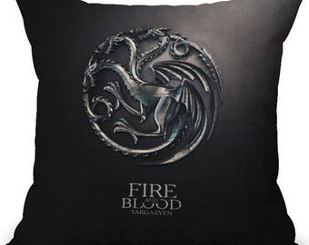 Game of Thrones - Dark Targaryen Cushion Cover (Fire and Blood)