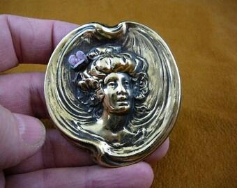 Woman hair in bun pink purple porcalain rose flower Victorian repro brass pin pendant B-WOM-36