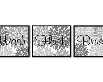 Bathroom Wall Art Grey White Gray Dahlia Flower Print Set of 3 Wash Flush Brush Art Prints Bathroom Wall Decor Modern
