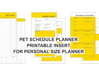 PERSONAL SIZE Printable inserts: Pet schedule planner