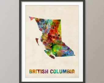 British Columbia Watercolor Map Canada, Art Print (80)