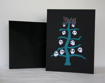 Goth Christmas Card Turquoise Skeleton Tree