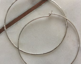 2 1/2 inch sterling silver hammered hoop earring