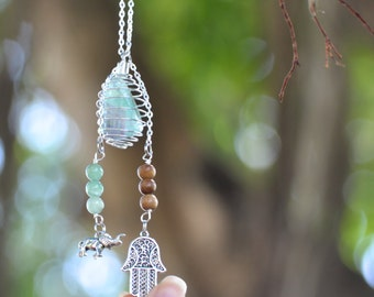 Crystal Cage Necklace with Hamsa Hand and Elephant - Green Aventurine & Wood Beads Silver Chain - Crystal Chakra Healing Gemstone Necklace