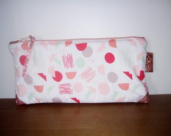 Pouch/clutch in cotton and faux rose gold.