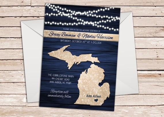 Lake Themed Wedding Invitations: Michigan Wedding Invitation Lake Superior Blue Theme