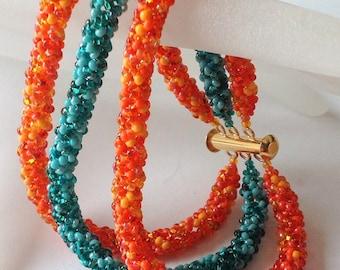 Tangerine and Teal Beadwoven Bracelet, EBW Team, Orange, Teal