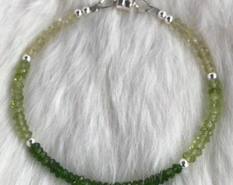 Delicate Ombre Chrome Diopside, Peridot, Lemon Quartz & Sterling Silver bracelet with magnetic clasp