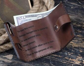 Walter Mitty Wallet Leather wallet Money purse Men bifold Cool wallet Best gift Handmade Travel wallet Romantic wallet