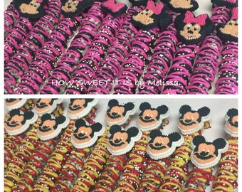 Minnie Mouse/Mickey Mouse (Mickey Mouse Clubhouse) Chocolate Covered Pretzel Rods - 1 dozen