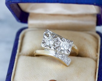 Unique Engagement Ring, Vintage Diamond Ring, Double Stone Bypass Toi Et Moi Ring, Mid Century Jewelry, 1960s Cocktail Ring Size 4.5 Sizable