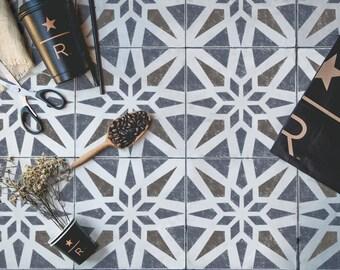 Modern Geometric Tile Stencil - Tile Stencil - Floor Stencil - Wall Stencil