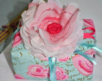 Gift Wrap 6 foot rolls of Shabby Chic Watercolor Roses on Paris Blue with Gold French Script