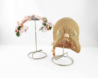 Instant Hat Display - 1940s Vintage Hat Stands With Hats - Metal Arm With Wood Dowel - Vintage Displays With Cloche and Handband