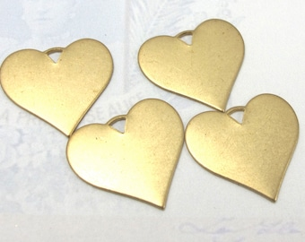 Brass Engraving Heart Charms (8X) (M681)