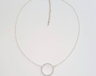 Karma Necklace • Diamond Circle Necklace • Open Circle Necklace • Dainty Circle Outline Necklace • CZ Circle Pendant Necklace