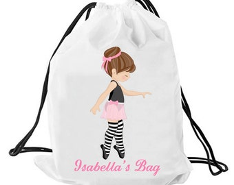 Personalized Ballet bag, Personalised drawstring bag, dance bag, swimming bag, school bag