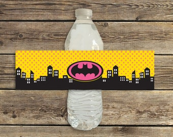 Batgirl pink birthday party water bottle labels printable instant download PDF