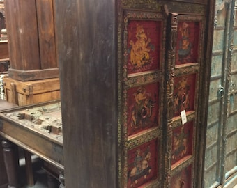 Antique INDIAN Armoire Maharaja and Ganesha Hand painted Decorating Earthy Jewel Tones Cabinet COUNTRY CHIC