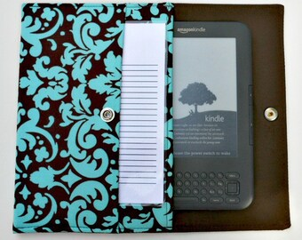iPad Mini, Kindle, Nook, Kobo, Sony Reader, Samsung Galaxy, Small eReader Padded Case (READY TO SHIP) - Aqua Damask