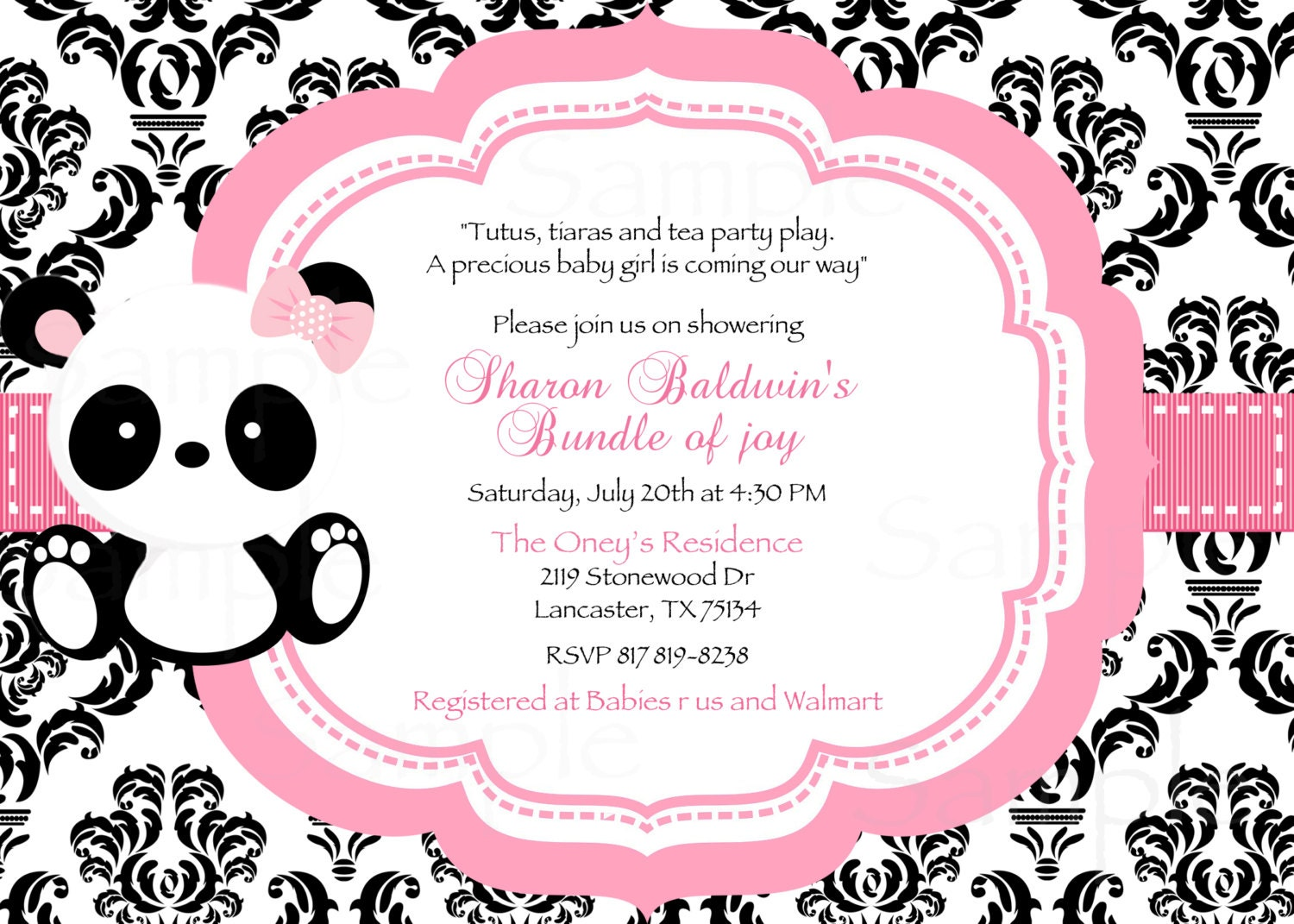 Damask or Polka Dot Baby Panda Baby Shower Invitation & Tag