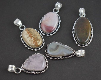 5 Pic Mix Gemstone Pendant Gemstone Silver Plated Vintage Look Pendant