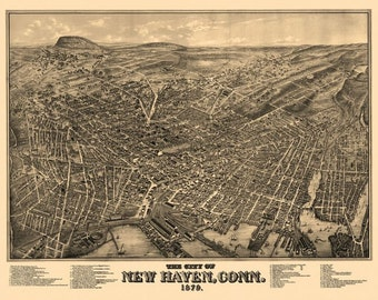 Vintage Map - New Haven, Connecticut 1879