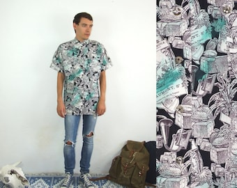 80's vintage mens white shirt with black-turquoise jungle expedition pattern