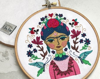 Embroidery hoop art - Frida Kahlo inspired embroidery - Mexican art