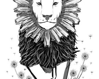 Lion dandelion rewilding art handcut black and white sticker
