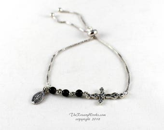 Three Hail Mary Marys Devotion Chaplet Bracelet Miraculous Medal Celtic Cross Knot Black Onyx Catholic Prayer Beads One Size Fits All Smart