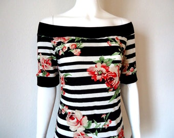 Floral Romance • Striped Off Shoulder • Top • Medium - Large • Tee Shirt